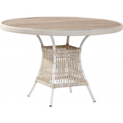 Table à manger de jardin Ø 117cm en résine tressée avec plateau en teck  coloris provance collection Digest