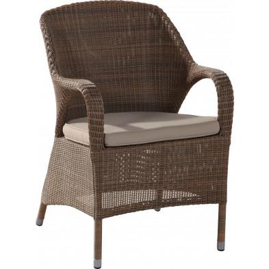 Chaise de jardin en résine tressée coloris taupe L. 59 x P. 47 x H. 89 cm collection Atchlench