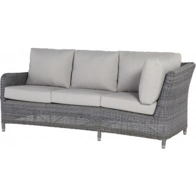 Canapé de jardin 3 places  avec accoudoir à droite en résine tressée coloris gris L. 205 x P. 83 x H. 82 cm collection Poon