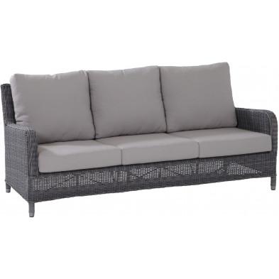 Canapé de jardin 3 places en résine tressée coloris gris rock L. 194 x P. 83 x H. 93 cm collection Poon