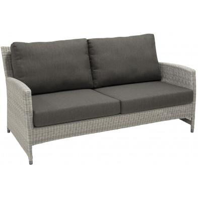 Canapé de jardin 2 places en résine tressée coloris gris L. 162 x P. 76 x H. 79 cm collection Vercana