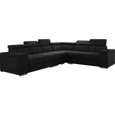 Canapés d'angle noir réversible moderne en pvc 6 places L. 260-325 x P. 94 x H. 67-100 cm collection SANDRA
