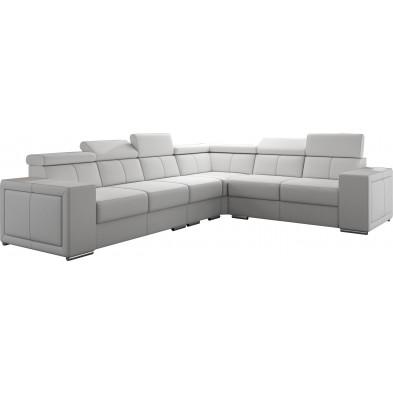 Canapés d'angle blanc moderne en polyester 6 places L. 260-325 x P. 94 x H. 67-100 cm collection SANDRA