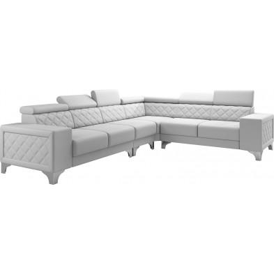 Canapés d'angle blanc réversible moderne en pvc 6 places L. 325-260 x P. 96 x H. 87-107 cm collection LUGANO