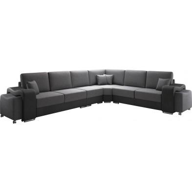 Canapés d'angle gris design réversible en acier 6 places  L. 320 x P. 258 x H. 78 cm collection DOMO