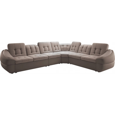 Canapés d'angle beige design en bois massif 6 places L. 340-280 x P. 100 x H. 79-87 cm collection DIVANI