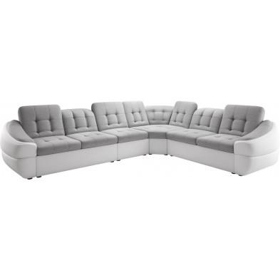 Canapés d'angle blanc design en bois massif 6 places L. 340-280 x P. 100 x H. 79-87 cm collection DIVANI