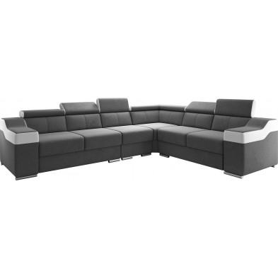 Canapés d'angle réversible  blanc design en acier 6 places L. 325-260 x P. 96 x H. 82-102 cm collection MIAMI