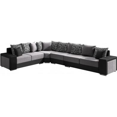 Canapés d'angle gris moderne en acier réversible  6 places L. 355-280 x P. 91 x H. 75 cm collection NOUMA