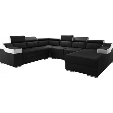 Canapés d'angle noir design en pvc 6 places L. 325-260 x P. 95-96 x H. 82-102 cm collection MIAMI