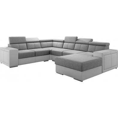 Canapés d'angle gris moderne en acier 6 places L. 260-325-180 x P. 94-96 x H. 67-100 cm collection SANDRA