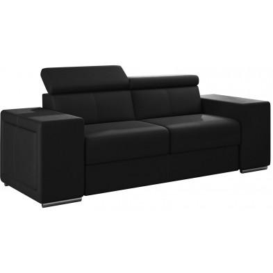 Canapés fixes noir moderne en pvc 2 places L. 190 x P. 96 x H. 67-100 cm collection SANDRA