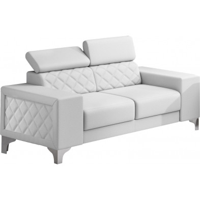 Canapés fixes blanc moderne en pvc 2 places  L. 194 x P. 96 x H. 67-100 cm collection LUGANO