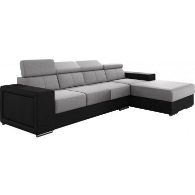 Canapés d'angle gris moderne en acier 4 places : L. 319-180 x P. 96-85 x H. 82-102 cm collection SANDRA