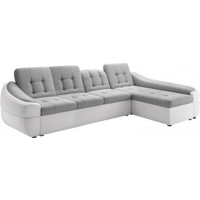 Canapés d'angle gris design en polyester 4 places L. 322-190 x P. 100-110 x H. 79-87 cm collection DIVANI