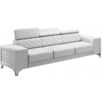 Canapés fixes blanc moderne en pvc 3 places L. 253 x P. 96 x H. 67-100 cm collection LUGANO