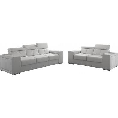 Ensemble canapés blanc moderne en pvc canapé fixe polyester 5 places L. 253 - 190 x P. 96 x H. 67-100 cm collection SANDRA