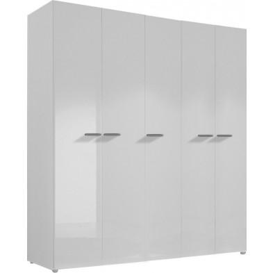 Armoire adulte blanc design L. 158 x P. 53 x H. 214 cm collection Houkes