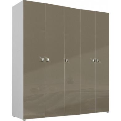 Armoire adulte beige design L. 158 x P. 53 x H. 214 cm collection Abigael