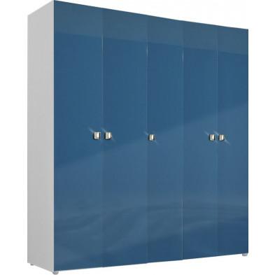 Armoire adulte bleu design L. 158 x P. 53 x H. 214 cm collection Bigley