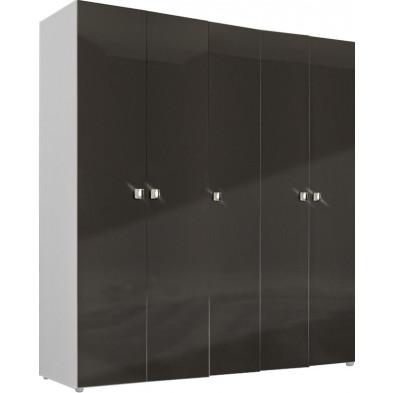 Armoire adulte gris design L. 158 x P. 53 x H. 214 cm collection Regillio