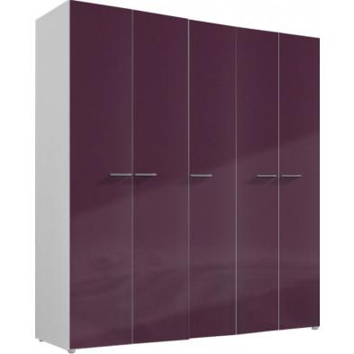Armoire adulte violet design L. 158 x P. 53 x H. 214 cm collection Ocie