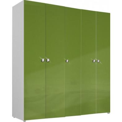 Armoire adulte vert design L. 158 x P. 53 x H. 214 cm collection Meby
