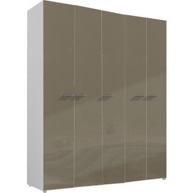 Armoire adulte beige design L. 158 x P. 53 x H. 240 cm collection Abigael