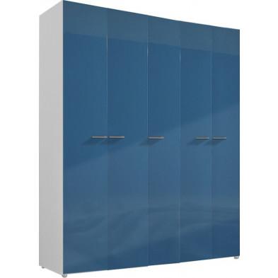 Armoire adulte bleu design L. 158 x P. 53 x H. 240 cm collection Bigley