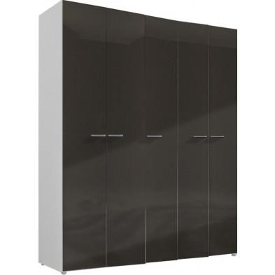 Armoire adulte gris design L. 158 x P. 53 x H. 240 cm collection Regillio