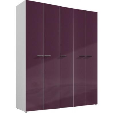 Armoire adulte violet design L. 158 x P. 53 x H. 240 cm collection Ocie
