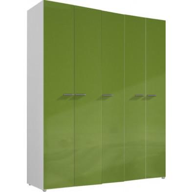 Armoire adulte vert design L. 158 x P. 53 x H. 240 cm collection Meby