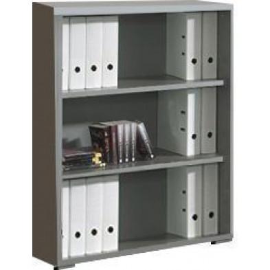 Meuble étagère gris moderne en panneaux de particules mélaminés de haute qualité L. 90 x P. 45 x H. 110,8 cm collection Therrien
