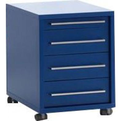 Caisson bureau bleu design en panneaux de particules mélaminés de haute qualité L. 44,7 x P. 58 x H. 56,5 cm collection Ryo