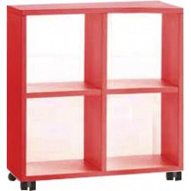 Meuble étagère rouge design en panneaux de particules mélaminés de haute qualité L. 78 x P. 35 x H. 83,2 cm collection Inscribe