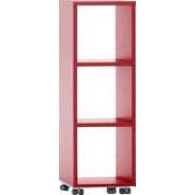 Meuble étagère rouge design en panneaux de particules mélaminés de haute qualité L. 40 x P. 35 x H. 120,2 cm collection Inscribe
