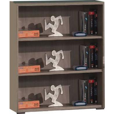 Meuble étagère gris contemporain en panneaux de particules mélaminés de haute qualité L. 90 x P. 47,1 x H. 109 cm collection Nijsink
