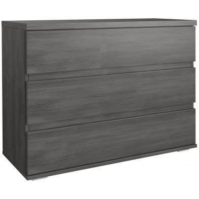 Commode - coiffeuse noir contemporain en panneaux de particules de haute qualité L. 100 x P. 42 x H. 94.5 cm collection Piperhall