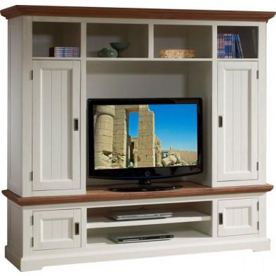 Ensemble meuble tv blanc contemporain en bois massif acacia  L. 202 x P. 53 x H. 182,5 cm collection Invite