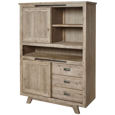 Argentier - meuble bar  beige contemporain en bois massif  L. 115. x P. 42 x H. 160 cm collection Overduin