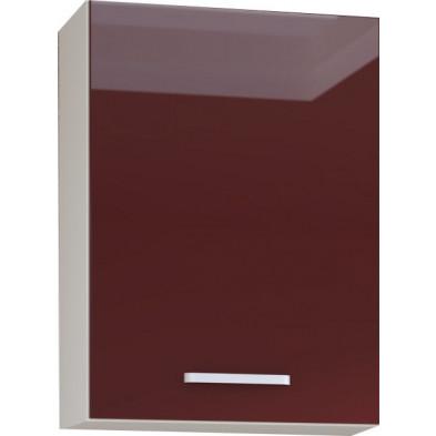 Meuble haut de cuisine design 1 porte coloris blanc mat et rouge laqué L. 60 x P. 30 x H. 72 cm collection Carlsbad