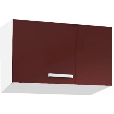 Meuble haut de cuisine design pour hotte avec 1 porte horizontale coloris blanc mat et rouge laqué L. 60 x P. 30 x H. 36 cm collection Carlsbad