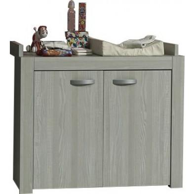 Commode et table à langer gris design en panneaux de particules  collection Kicky