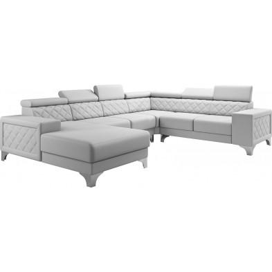 Canapés d'angle blanc moderne en pvc 6 places L. 325-260-180 x P. 96 x H. 87-107 cm collection LUGANO