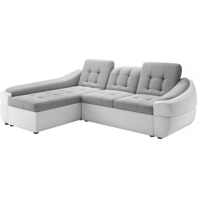 Canapés d'angle blanc design en bois massif 3 places L. 255-180 x P. 100-110 x H. 79-87 cm collection DIVANI