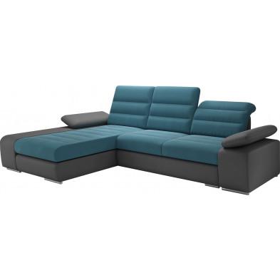 Canapés d'angle convertibles bleu design en acier 3 places L. 280 x P. 95-183 x H. 86-100 cm collection BERGAMO