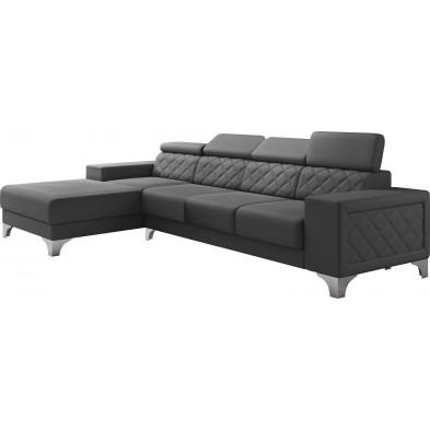 Canapés d'angle gris moderne en pvc 4 places L. 322-180 x P. 94-95 x H. 67-100 cm collection LUGANO