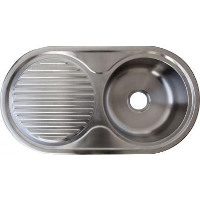 Évier cuisine à encastrer 1 bac 87x47cm en acier inoxydable brossé forme ovale collection Elizabethton