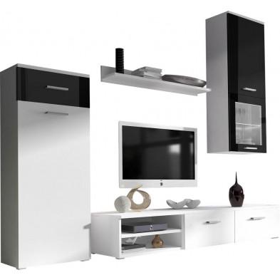 Meubles tv blanc design en panneaux de particules de haute qualité L. 205 x P. 50 x H. 190 cm collection Bettye