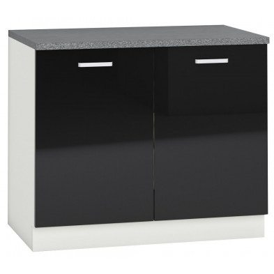 Meuble bas de cuisine design avec 2 portes coloris blanc mat et noir laqué L. 100 x P. 60 x H. 82 cm collection Bayton